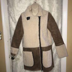 Dex Brown Faux Suede & Faux Shearling Coat